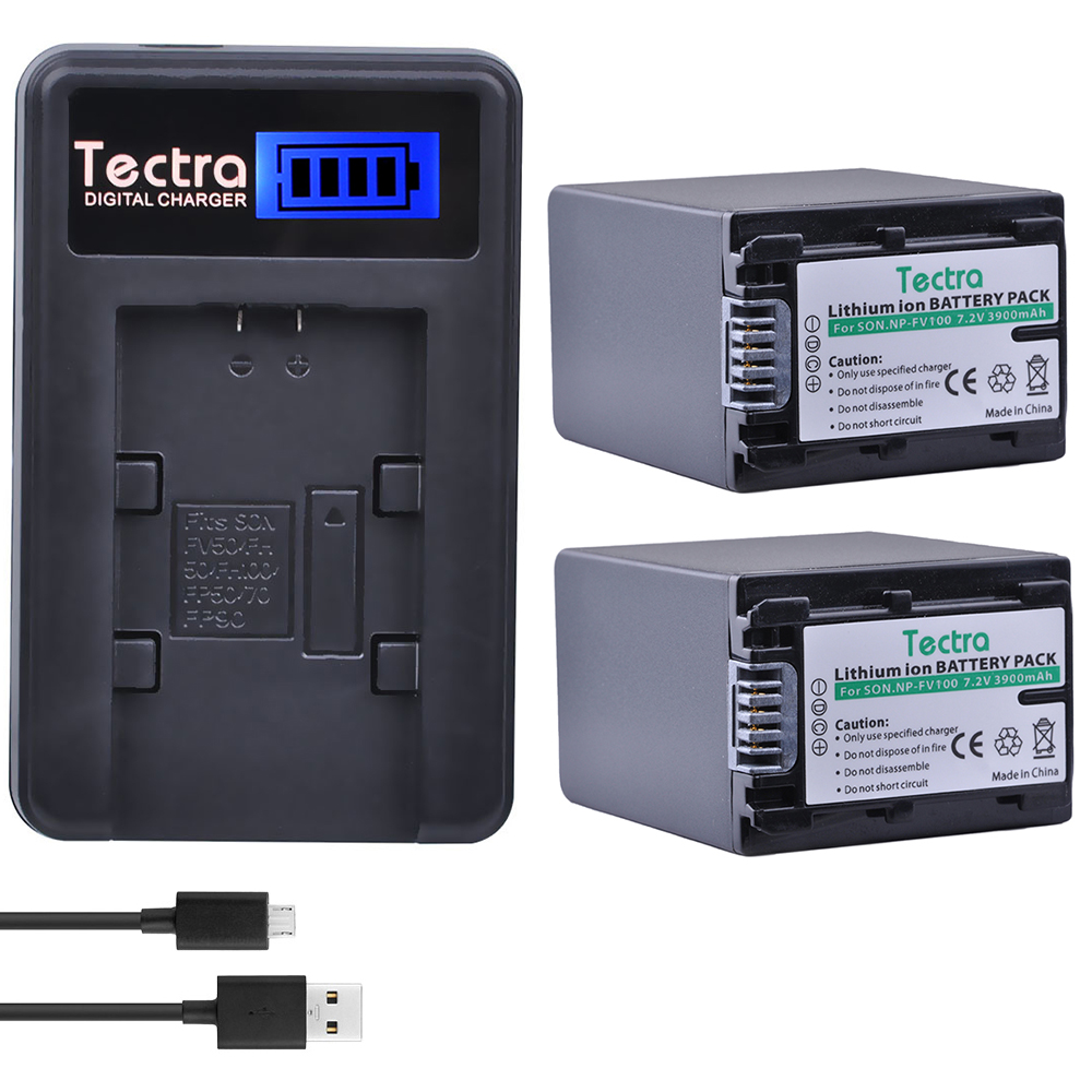 Tectra 2pcs NP-FV100 NP FV100 Camera Battery + LCD USB Charger for Sony NP-FH30 NP-FH40 NP-FH50 NP-FH60 NP-FH70 NP-FH90 dste fh100 fh50 fh70 fv100 fv70 fv50 fp50 fp90 fp100 battery charger for sony video camera more