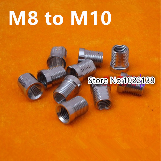 10PCS M8 TO M10 Chrome M8 Inner Teeth Outer Teeth Turn M10 Connector Adapter Connector Rod Teeth Through Teeth