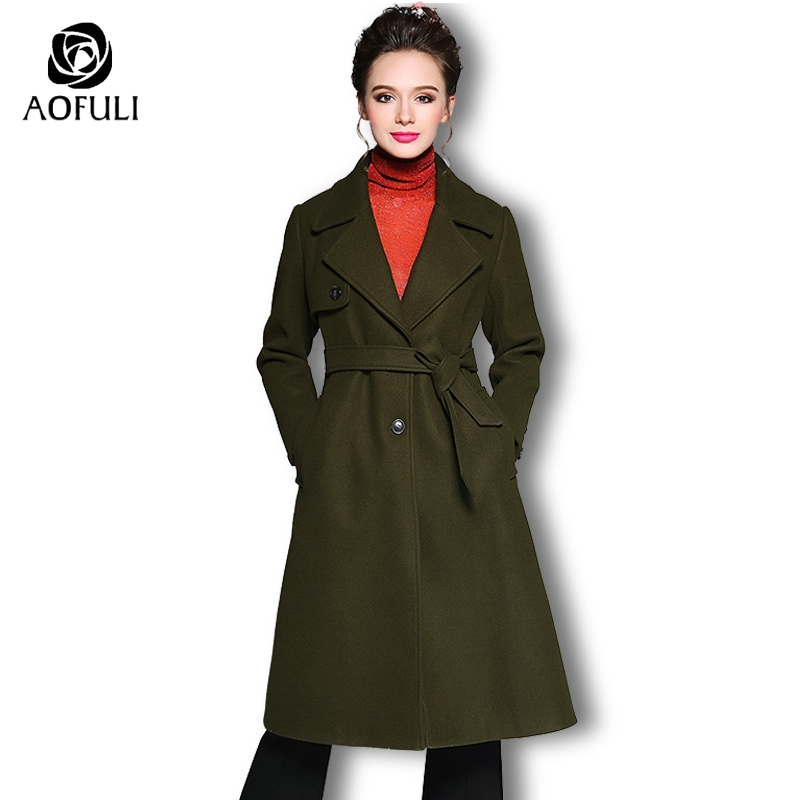 AOFULI M 4XL 5XL Women Woolen Coat Army Green Big Size Single breasted Thick Overcoat Brand