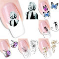 2Pcs/Lot 3D Cute DIY Black Cat Nail Art Water Decal Tattoo Stickers Cat Butterfly Watermark Nail Decoration Stick RP1