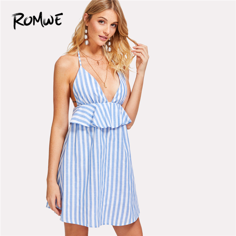 35414475267bf ROMWE Halter Neck Blue Vertical Striped Frill Trim Dress Womens Sexy Summer  Dresses Sleeveless Backless Tunic Dress-in Dresses from Women's Clothing on  ...