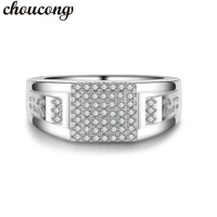Choucong New Men Jewelry Ring Pave Set 5A Zircon Cz 925 Sterling Silver Male Emgagement Wedding