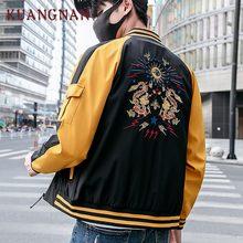 KUANGNAN estilo chino hombres chaqueta abrigo dragón bordado Streetwear hombres  chaqueta abrigo Hip Hop hombres bombardero d141f039f86