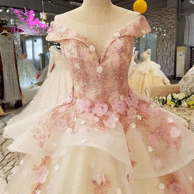 AIJINGYU בציר חתונת שמלת שמלות יוקרה כובע תחרה Bridals ארוך רכבת לבן בתוספת גודל לבנדר שמלות חתונה שמלת חנויות