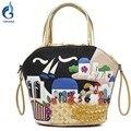 2016 Женщин Сумки дизайнер нью Печати Женская сумка Сумка тотализатор Холст Сумки мешок основной borse feminina 3D цветы bolsas