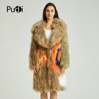 PUDI CT836 2018 новая женская мода из натурального меха енота пальто для отдыха для девочек куртка длинное пальто 2018 осень зимняя куртка