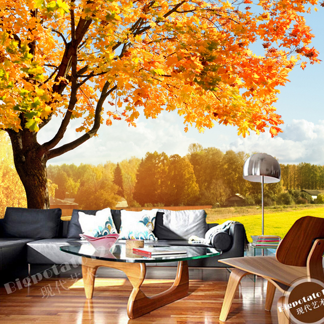 Large Natural Scenery Wallpaper Sunshine Trees 3D Photo Murals For The Living Room Sofa