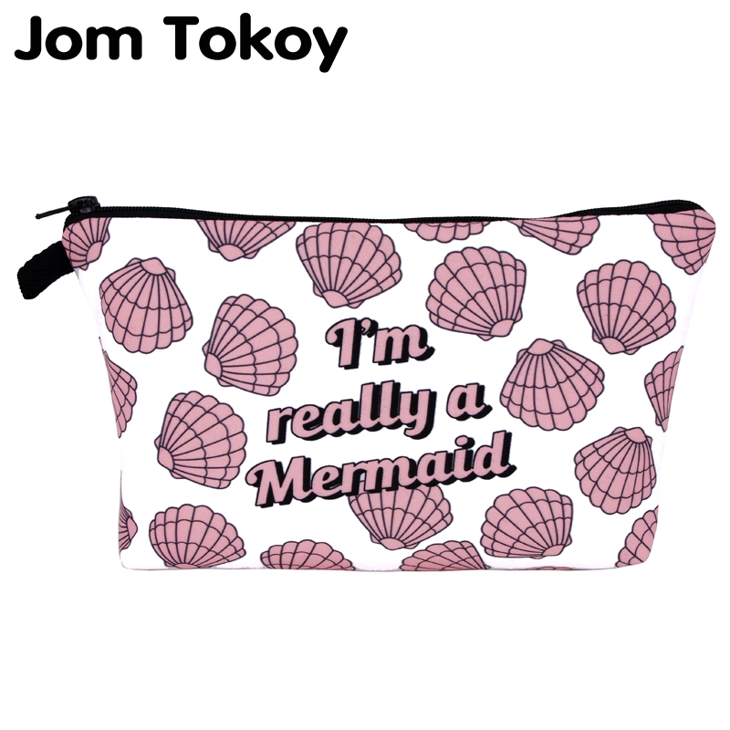 Jom Tokoy  Cosmetic Organizer Bag Make Up Printing Mermaid Cosmetic Bag Fashion Women Brand Makeup Bag