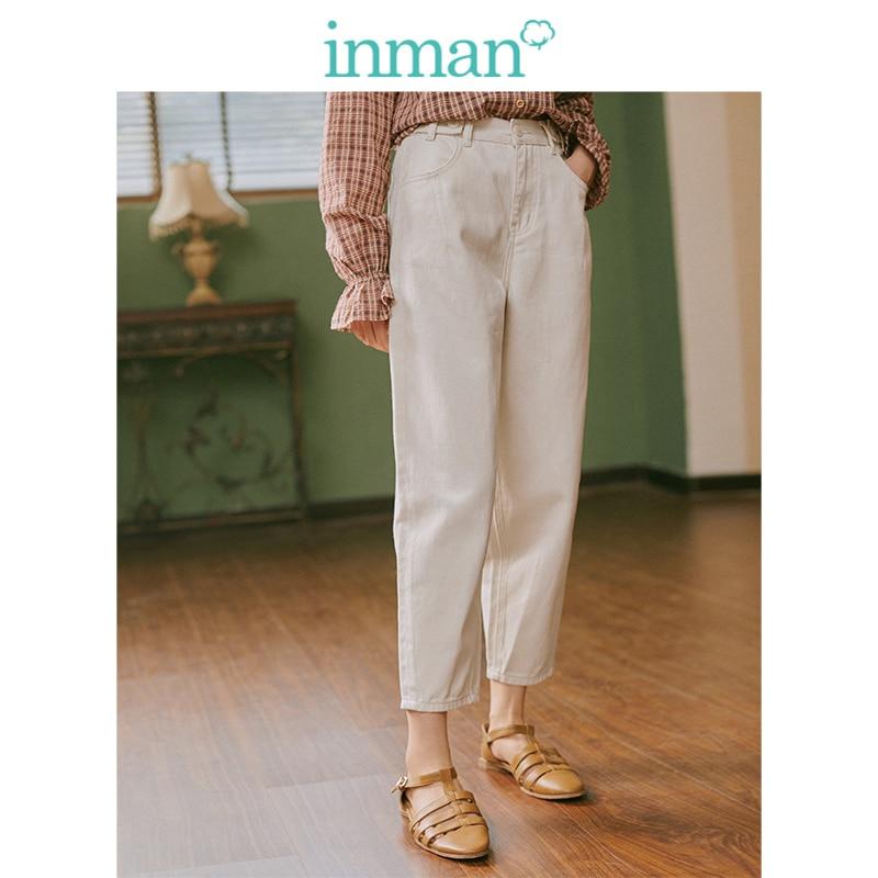 INMAN 2019 automne nouveauté jeune Style littéraire taille moyenne lâche rétro femmes crayon Jeans
