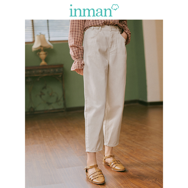 INMAN Spring Autumn Young Literary Style Medium Waist Loose Retro Women Pencil Jeans