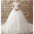 Glamorous Sweetheart Appliqued Beaded Short Sleeve Flowers Puffy Wedding Dresses Bridal Gown
