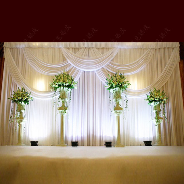 Top Rated Luxury White Wedding Backdrop With Beatiful Swag Drape And Curtain Decoration