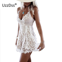 Womens Hollow Out Waist Mini Playsuits 2017 Summer White Basic Sleeveless V Neck Short Party Dresses