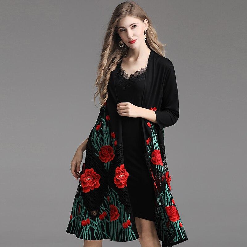 Évider Floral Noir Top Nouvelle Femmes Manteau red Printemps Été Vestes Rouge Qualité D'extérieur Broderie Lâche Black white Long Blanc Cardigan 2019 dBCxhQtsr