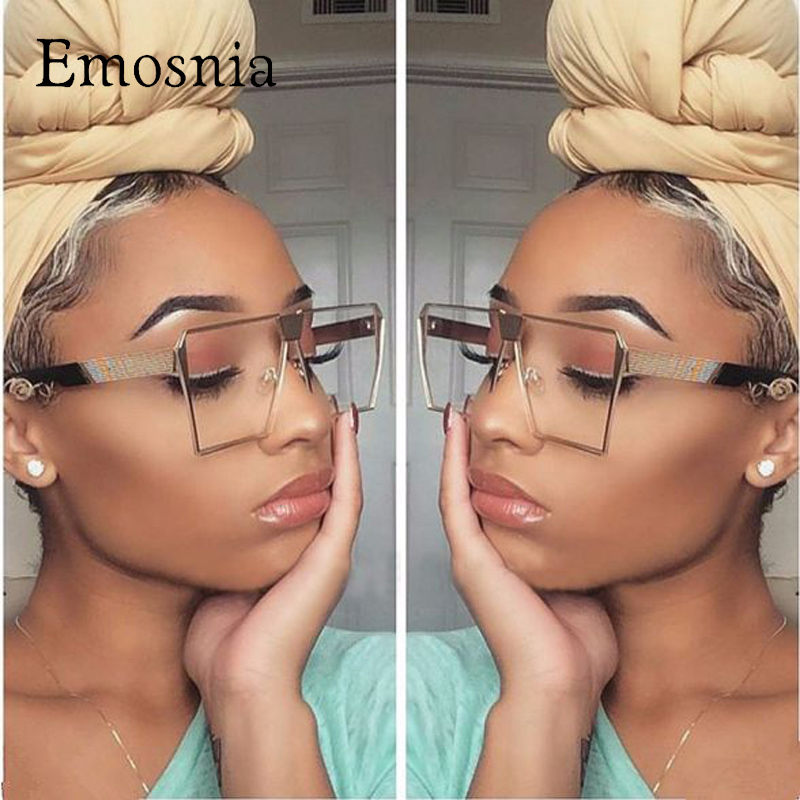 Emosnia 2017 Trend Square Sunglasses Women UV400 Clear Sunglass ապրանքանիշի դիզայներ Unisex Sun Glasses Hexagon Metal Frame Տղամարդկանց ստվերներ