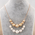 N200967 new white champagne pearls necklace zinc alloy rose gold plated silver plated with imitation pearl fashion wemon jewelry