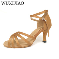 WUXIJIAO Hot Sale Women Latin Dance Shoes Dance Dark Tan Satin Soft Leather Sole Ladies Ballroom Dances Shoes Sandal High Heel