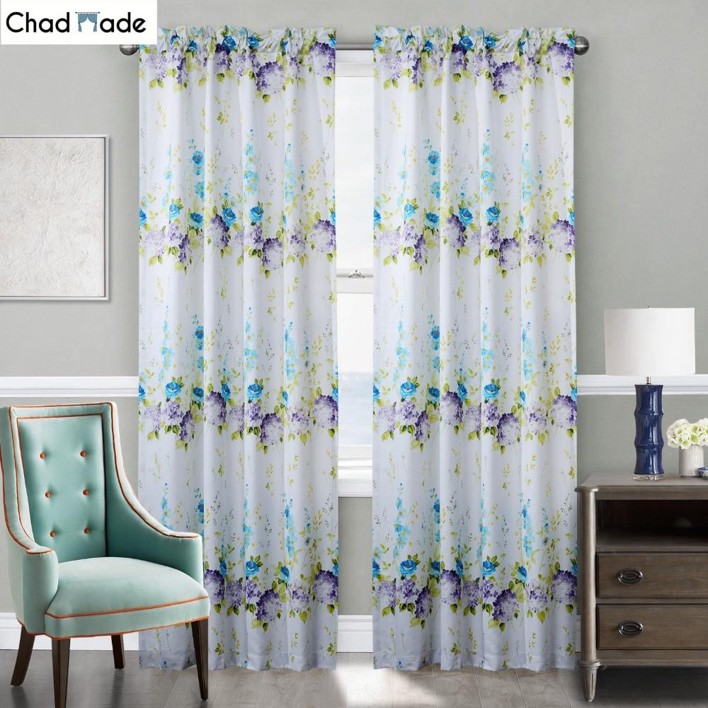 chadmade estampado floral fresco cortina para sala de estar dormitorio moderno estilo de ventana cortinas de