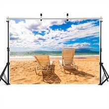Sky Beach Deck Chairs Photography Backdrop for Photo Booth Wedding Child Baby Shower Kids Vinyl Cloth Background Photo Studio cheap Spray Painted FD-1165 Scenic FUWOOD 110g sqm Computer Printed Backgrounds Photo Booth Wedding Child Baby Shower Kids Vinyl Cloth Background Ph