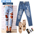 5 colors 2016 plus size blue boyfriend jeans with holes baggy white/black ripped jeans destroyed pants