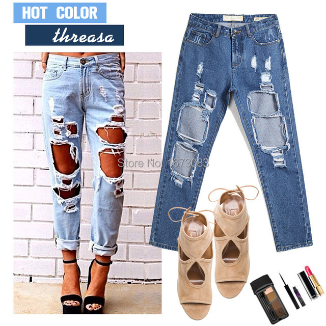 afb68d80517 5 colors 2016 plus size blue boyfriend jeans with holes baggy white black ripped  jeans