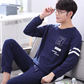 2016 winter men's long sleeves sleepwear thickened cotton nightshirt cardigan and pajama set mens pajamas