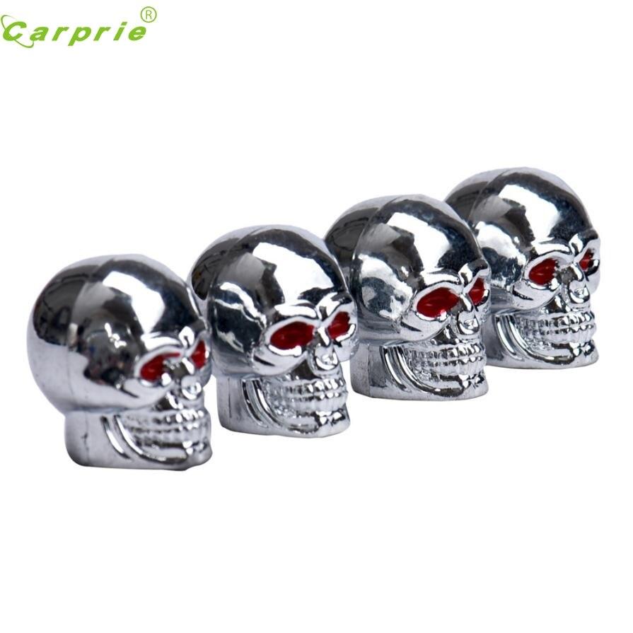 New Arrival Hot Sell Red Eyes Skull Tyre Tire Air Valve Stem Dust Caps For Car Bike Truck nr25