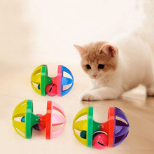 Cat Toys Hollow Out Round Pet Colorful Playing Ball With Small Bell Products Two Bells  Plastic Sound Toy