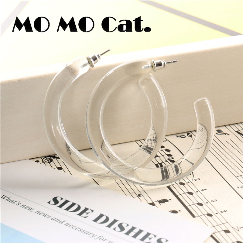 Free shipping Fashion jewelry Wholesale gift Simple wind geometric semicircle transparent earrings.