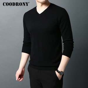 Image 2 - COODRONY Brand Sweater Men Pure Merino Wool Mens Sweaters Autumn Winter Thick Warm Cashmere Pullover Men V Neck Pull Homme 93014