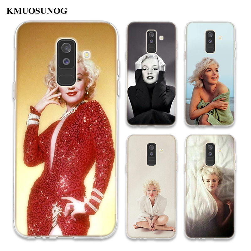 Transparent Soft Silicone Phone Case Marilyn Monroe For Samsung Galaxy A6 A6 A9 A8 Star A8 A7 A5 A3 Plus 2018 2016 in Fitted Cases from Cellphones Telecommunications