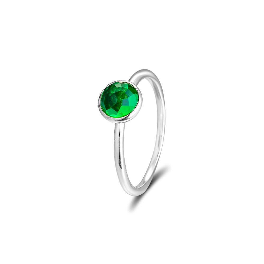 CKK 925 Ayar Gümüş Olabilir Damlacık, kraliyet-Yeşil Kristal - Takı - Fotoğraf 3