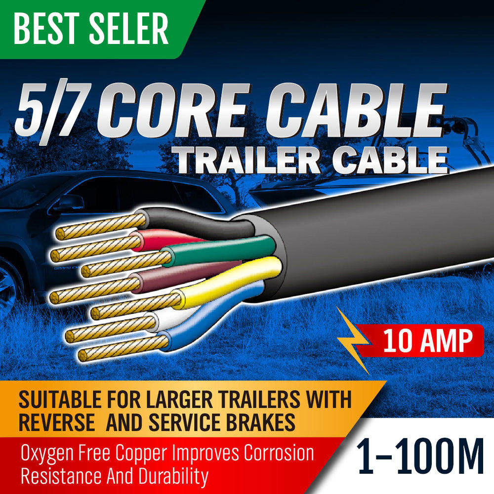 Sedy 10m 7 Core Trailer Wiring Cable Plug Tool 25mm Caravan Hook Up Diagram 20m 30m 5core Train Wire