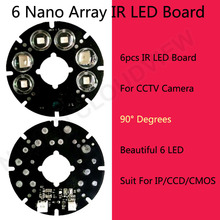 New product 6 beautiful array LED IR Leds Infrared Board 90 degree for Security CCTV Camera 75 diameter camera LED board