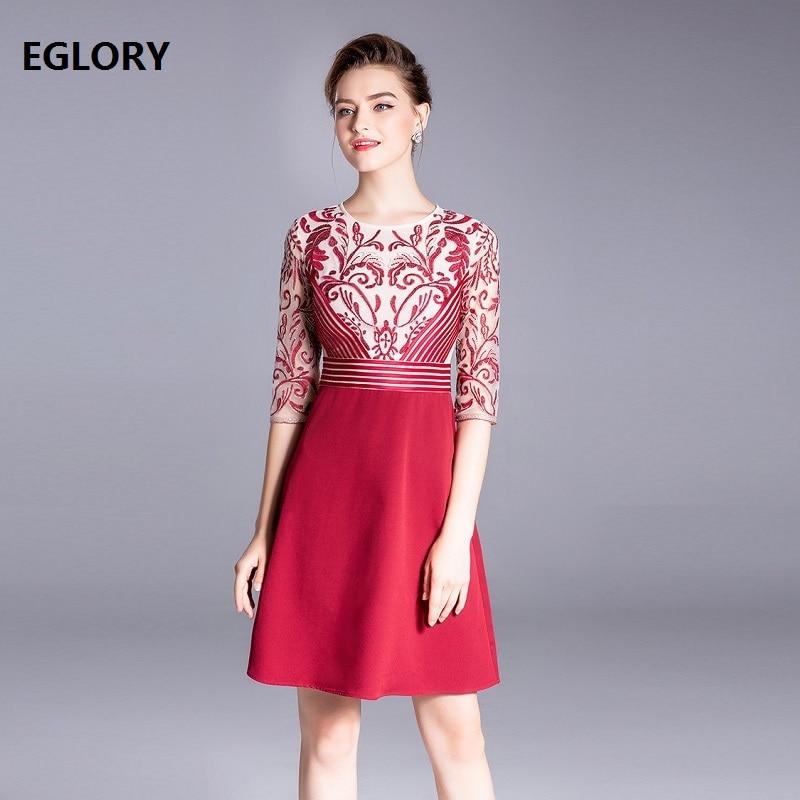 Vestidos De Festa 2018 automne nouveau mode fête De luxe femmes broderie Patchwork mi-mollet longueur bleu rouge robe Cocktail dame