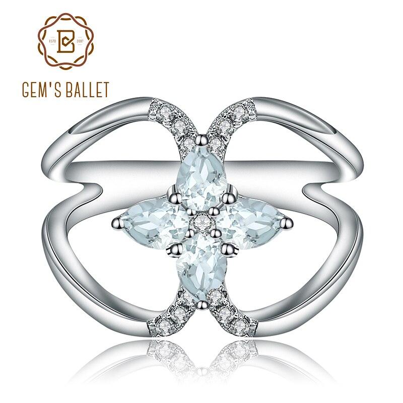 Gem's Ballet 0.75Ct Natural Sky Blue Topaz Gemstone Engagement Ring For Women 925 Sterling Silver Finger Ring Fine Jewelry