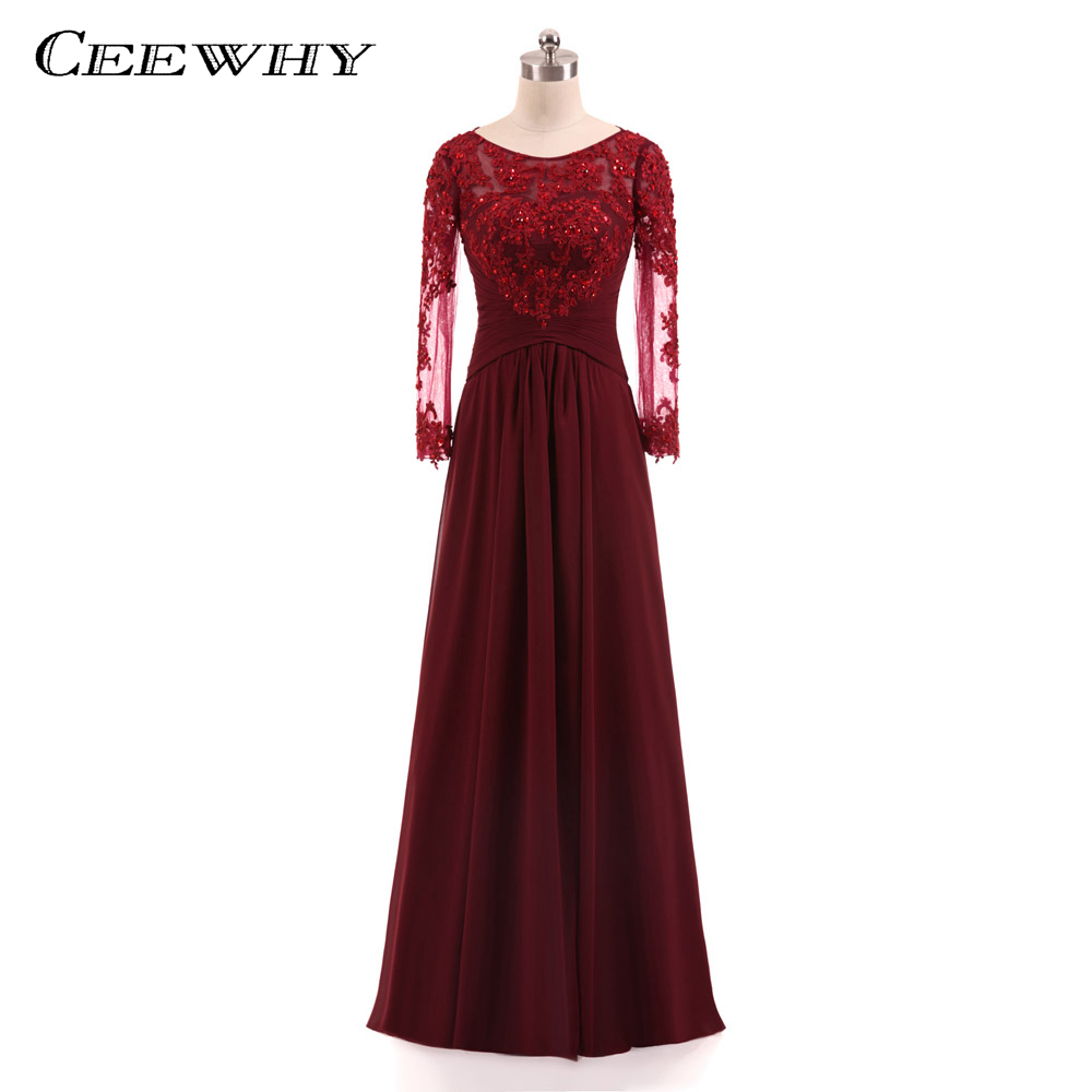 CEEWHY Burgundy Vestido de Festa Embroidery Long Sleeve Evening Dresses Prom Dresses Formal Gown Chiffon Evening
