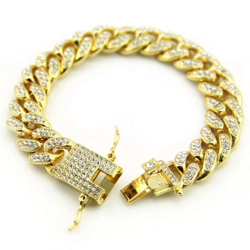 Beautiful 12mm Miami Curb Cuban Bracelet For Men Gold Silver Hip Hop Iced Out Paved Rhinestones Cz Rapper Bracelet Jewelry