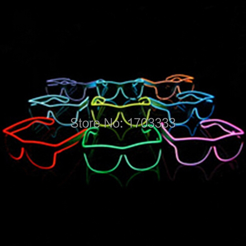 50pcs/lot Sound Music Voice Activate led glasses El Wire Glow Sun Glasses light up glass ...