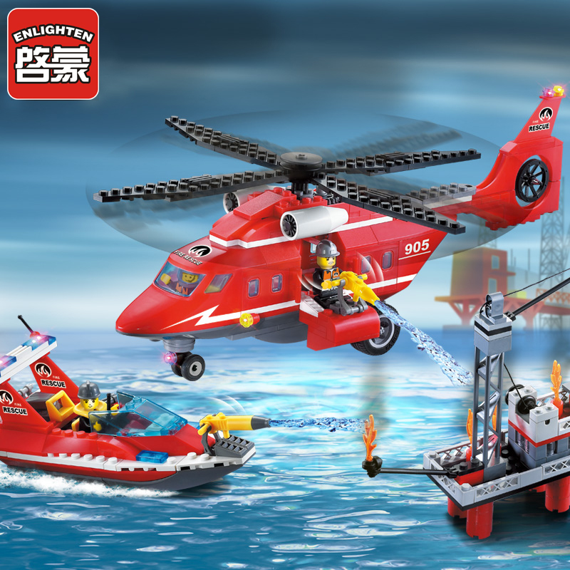 Enlighten 905 Sea Rescue Teams 402pcs Building Blocks Compatible all brand City Fire Series Fire plane brick toys for children enlighten brick 905