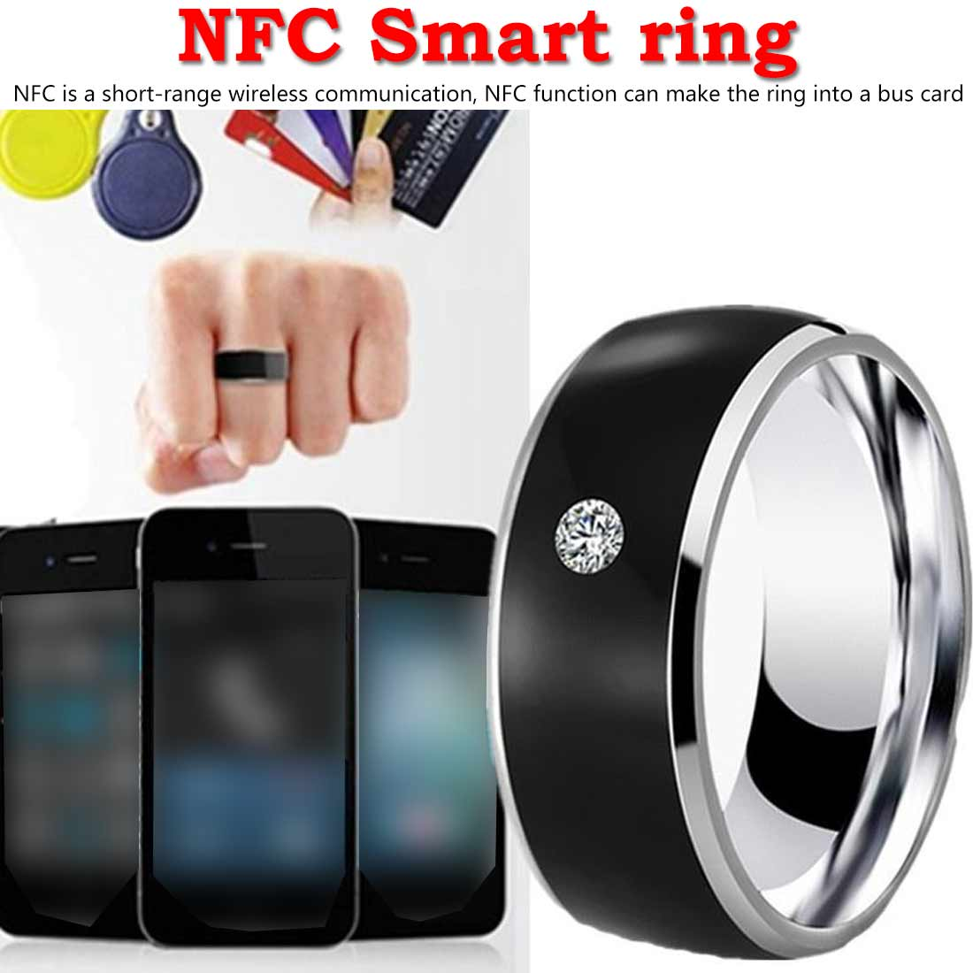 Nfc Multifunctionele Intelligente Ring Voor Alle Android Technologie Vinger Smart Slijtage Vinger Digitale Ring