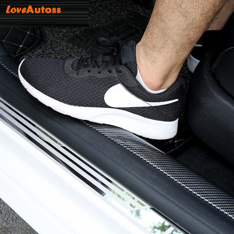 Car styling Carbon Fiber Rubber Door Sill Protector Goods For Mitsubishi Lancer 9 10 Car Accessories interior 2018 2019-in Interior Mouldings from Automobiles & Motorcycles
