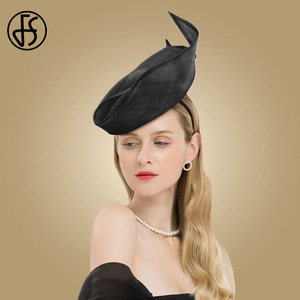 Image 2 - FS Fascinator Pink Ladies Hat For Wedding Women Elegant Kentucky Derby Hats Black Sinamay Church Linen Fedoras Chapeau Femme