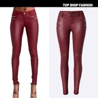PU Skinny Low Waist Red Faux Jeans Slim Femme Pants for Women Casual Elastic Pencil Pants Plus Size