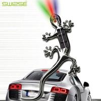 Hot Sale Car Stickers 18cmX7 5cm Big Silver 3D Car Solar Power 4 LED White Blue
