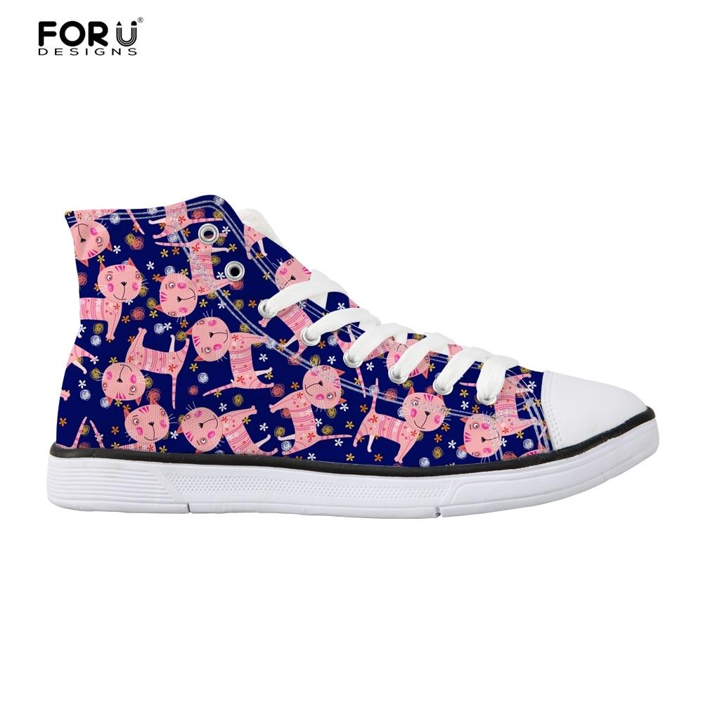 FORUDESIGNS Cute Ladies Vulcanize Shoes Flats High Top Fashion Women Sneakers Flats Cartoon Cat Pattern Womens Flats Zapatos