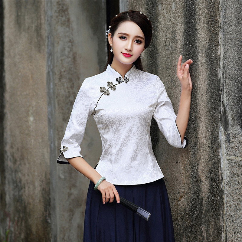 8bbe8a1f0a Improved Tang Suit Tops Three Quarter Sleeve Retro Fashion Slim Traditional  Chinese Clothing Blouse White S