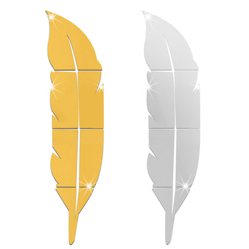 1pcs DIY Modern Acrylic Wall Sticker Feather Mirrow Stickers Removable Decal Art Mural Poster For Home Decoration Accessaries