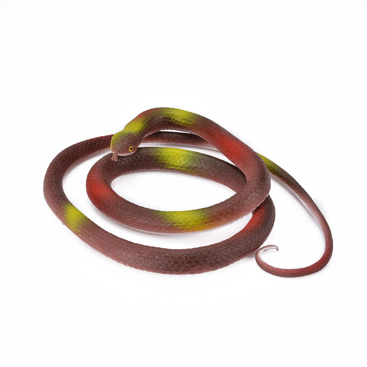 1pcs 120cm High Simulation Rubber Toys Coffee Fake Snakes Scary Snake Model Joke Prank Props Gift for Halloween Party Decoration
