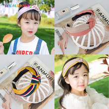 SLKMSWMDJ new fabric childrens headband princess knot tie lattice girl hairpin baby headdress 8 colors